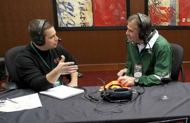 Bret Bakita interviews Michigan State assistant football coach Pat Narduzzi in 2012.