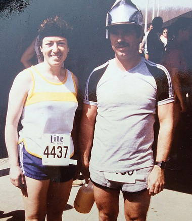The couple after the Grand Rapids race in the 1980s.