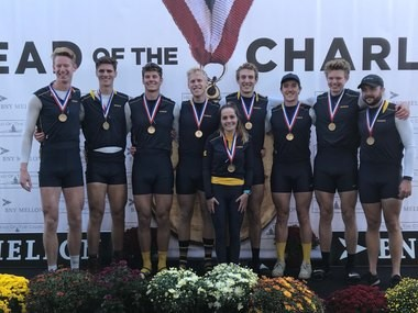 Rockford graduate James Anderson (second from right) helped the University of Michigan earn its first gold medal at the Head of the Charles since 2014. (Supplied photo)