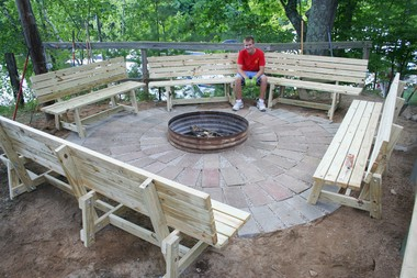 The fire pit and benches, the Eagle award project directed by Jacob Hooper, is located in Mecosta County.
