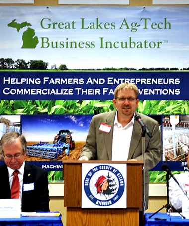 Mark Knudsen, Ottawa County Planning and Performance director, announces the launch of the Great Lakes Ag-Tech Business Incubator.