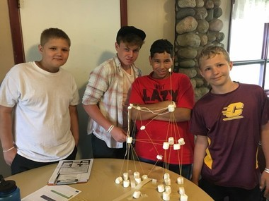Campers in the Remembrance Ranch Entrepreneurship Camp did projects to learn principles of independence, success and business, including marshmallow architecture. The activity encourages creative thinking and teamwork. Students attending the camp came from Allendale, Grand Haven, Hudsonville and other locations.
