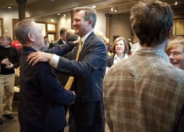 Mike O'Brien is congratulated by a voter during the Democratic party held at Cityscape in downtown Kalamazoo. O'Brien lost his bid to unseat Rep. Fred Upton (R) in the 2012 election.