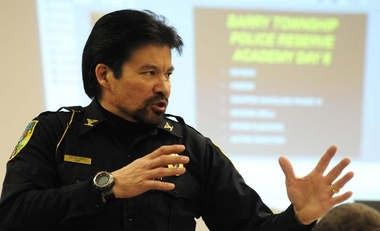 Barry Township Chief of Police Victor Pierce talks to his class during a Barry Township Police Reserve Academy class last year at the Barry Township Hall.