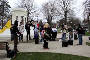 """Approximately 30 people turned out for a demonstration against """"tar sand oil and fracking"""" that started in Marshall and ended in Battle Creek Saturday."""