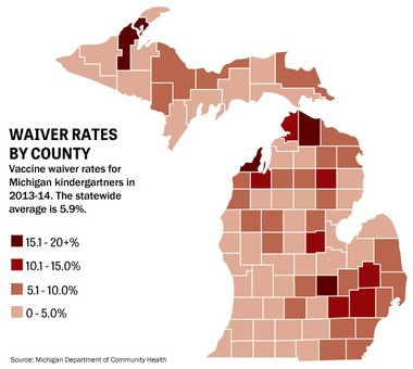 This map shows kindergarten vaccination waiver rates by county in Michigan.