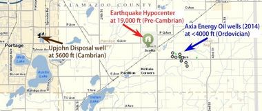 This map from the Michigan Department of Environment Energy, and labeled by scientists at Western Michigan University, shows the location of the earthquake epicenter to nearby oil wells as well as the wastewater injection wells used by the Pfizer manufacturing facility. The important point, the WMU scientists say, is that the quake originated much deeper in the Earth than the wells, which eliminates a connection between the two.