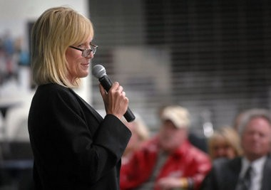 Erin Brockovich speaks to Fennville residents in this MLive file photo.
