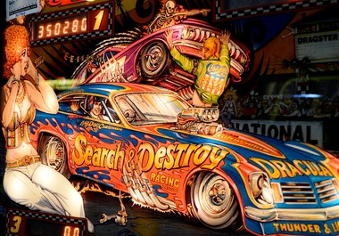 """20th century art: Detail of a 1980 """"Nitro Ground Shaker"""" pinball game at Klassic Arcade of Gobles."""