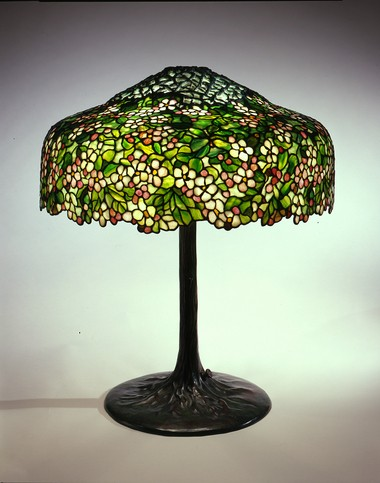 Apple Blossom library lamp, ca. 1906, leaded glass and bronze. One of the Tiffany pieces on display at the Kalamazoo Institute of Arts from the Neustadt Collection.