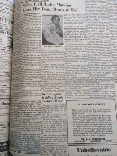 Kalamazoo Gazette interview with Amelia Boynton, published March 13, 1965. Boynton was one of the lead activists in the Selma civil rights protests, and spoke in Kalamazoo a week after she was beaten unconscious by Alabama state troopers.