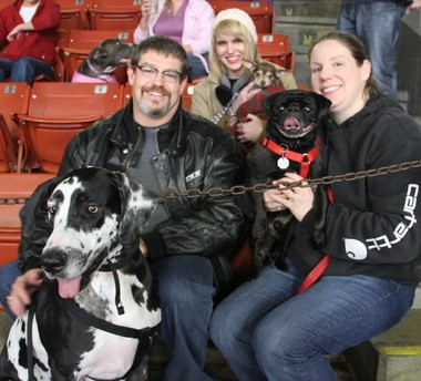 Jay Dobbins, with Stanley, a 2-year-old Great Dane, and Emily Mitchell, with Doug the Pug, 4, took their three rescue dogs to the K-Wings game Wednesday night. Ana Dobbins, middle, holds Penelope, a 4-year-old chihuahua.