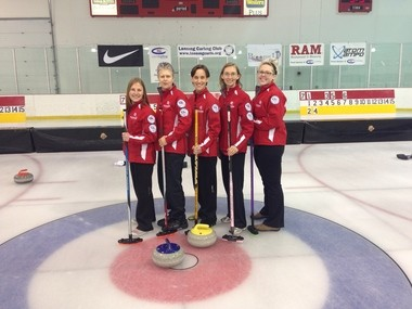 The Kalamazoo women's team improved upon last year's performance when they won a bronze medal. From left to right, Stephanie Senneker, Skip; Pam Nelson, vice skip; Valerie Hart-Young, lead; Nicole Brinkmann, second; Barbara Little, alternate.