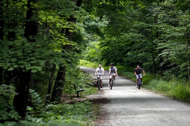 Bicyclists ride the Kal-Haven Trail in this file photo. Van Buren County officials are considering adding a third recreational trail in the county, which would run from Paw Paw to Lawrence.