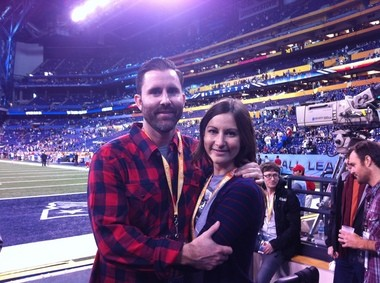 Tyler Dixon and Heather Kasprzak at the 2012 Super Bowl in Indianapolis.