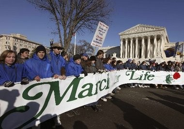 Abortion opponents march in front of the Supreme Court in Washington, D.C., in 2009 during the annual March for Life.