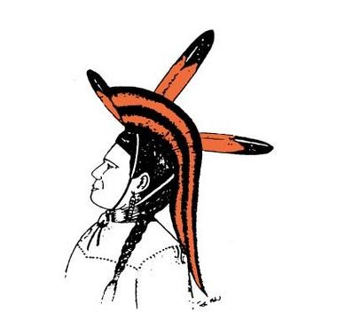 Chieftain logo created for Dowagiac High School in 1990 by Ron Mix, a member of the Potawatomi Pokagon Band.