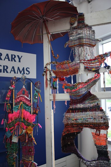 """Elizabeth Coss is the winner of the first Recycled Art in the Park Contest for her entry, """"Taj and the Dancer."""" It can be seen at the Portage District Library."""
