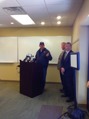 Dowagiac Public Safety Director Tom Atkinson addresses the media at a press conference after a teenager shot and killed himself near Dowagiac Middle School Monday.