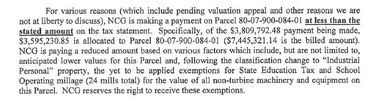 An excerpt from a Feb. 26, 2013, letter submitted with Tenaska Capital Management's 2012 winter tax payment, which was half of the amount billed.