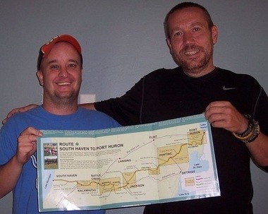 Cyclist Chris Bowman, left, and hiker Chris Hillier, right, will bike and hike the Great Lake to Lake Trail - Route 1.
