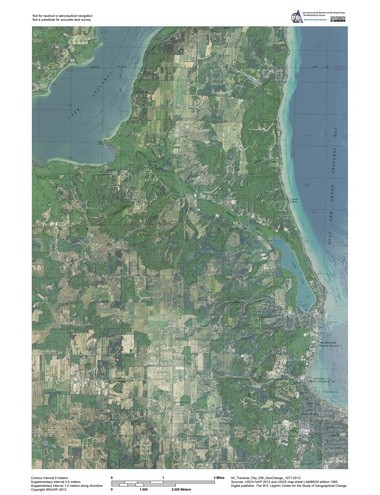A GeoChange map of Traverse City and the Leelanau Peninsula from 1977 to 2012.