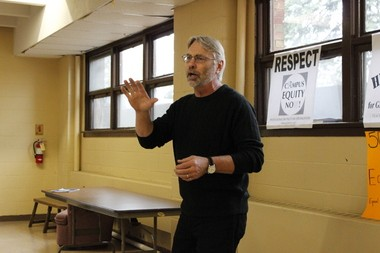 Thomas Kostrzewa, professor and president of PIO, said that collective and political action were both ways to spread awareness about inequity on Western Michigan University's campus at a rally at the Wesley Foundation Thursday.