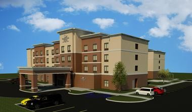 An artist's rendering shows the proposed Hilton Homewood Suites 97-room hotel to be built at the Trade Centre.