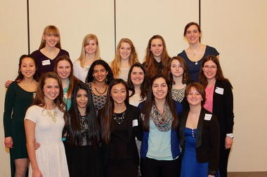 Twelve Kalamazoo County students were among the 20 young women honored at an awards banquet March 1 in East Lansing sponsored by the National Center for Women & Information Technology. Sixteen of the 20 recipients are pictured here.
