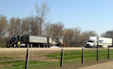 The right lane of I-94 closed Tuesday after a semi-truck that caught fire.