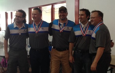 The Kalamazoo Curling Club men's team won the silver medal at the 2014 US Arena National Championships on Sunday. From left to right, Tom Deater, alternate; Chris Gleaton, lead; Marcus Gleaton, second; Kent Elliott, vice skip; Garnet Eckstrand, Skip.