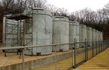 18 130-ton dry casks that hold spent fuel that cannot be stored inside the plant for lack of room, shown in 2002.
