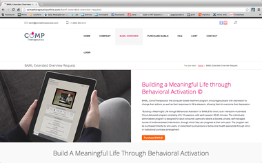 The webpage for the Building a Meaningful LIfe through Behavior Activation on the CompTherapeutics website.