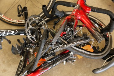 One of the bikes managled in a June 7 collision in Kalamazoo County that killed five cyclists and seriously injured four others.