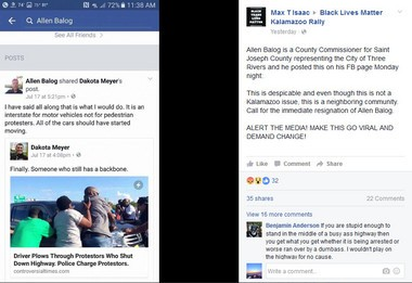 St. Joseph County Commissioner Allen Balog's Facebook post that reacts to a story about a woman driving through a 2015 Black Lives Matter protest on I-70 in Missouri.