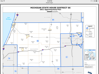 Michigan's 66th District includes Van Buren County, the city of Parchment, and Cooper and Alamo townships. (Michigan.gov)