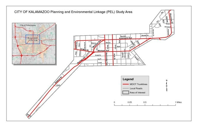 The Michigan Department of Transportation is using the Planning and Environmental Linkages process to determine future improvements to downtown Kalamazoo roads. A study will analyze potential operational, geometric and safety improvements, along with potential environmental constraints and impacts. (Courtesy | MDOT)