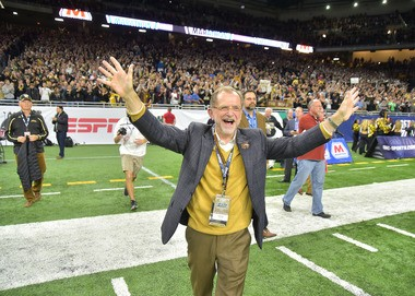 John Dunn celebrates as the WMU Broncos secure the 2016 MAC Championship Friday, Dec. 2, at Ford Field in Detroit.