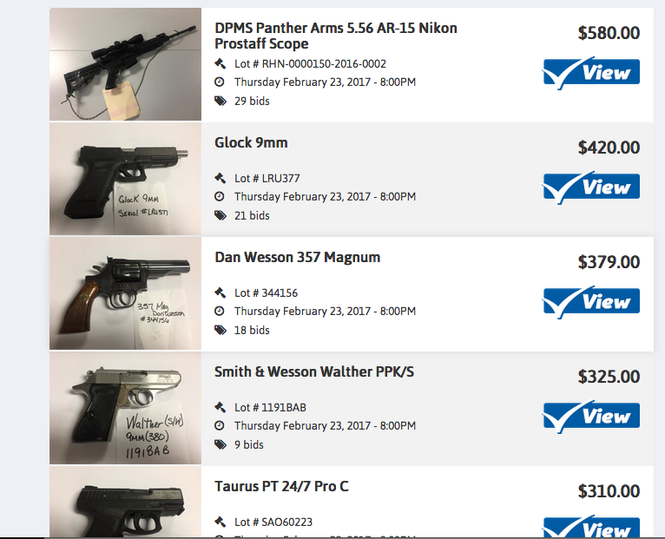 See guns seized by police and up for auction online today