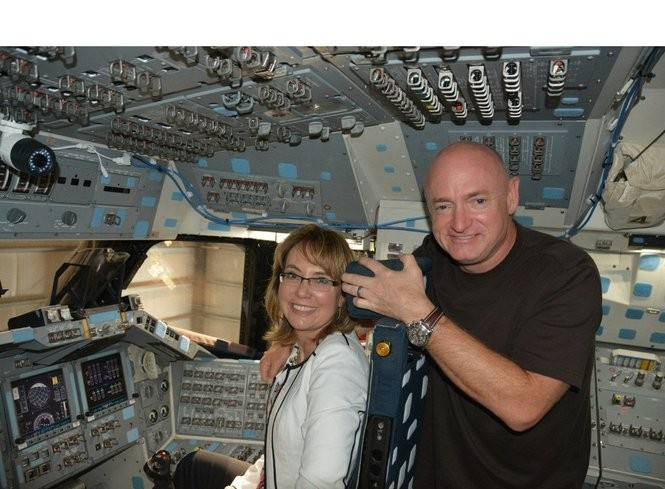 Former Congresswoman Gabrielle Giffords and Navy combat veteran and NASA astronaut Captain Mark Kelly, are the co-founders of the gun violence prevention organization Americans for Responsible Solutions. They also created the Law Enforcement Coalition for Common Sense to reduce gun violence and oppose legislation that poses a threat to public safety. Kelly was photographed with Giffords aboard the Endeavour space shuttle in 2015. (PRNewsFoto/California Science Center Founda)