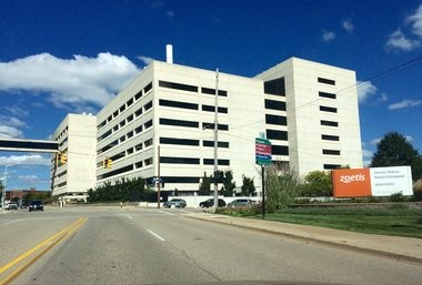 Zoetis Inc.'s laboratory and office building at 333 Portage St. in downtown Kalamazoo is shown in this September 2015 file photo. Zoetis makes and markets veterinary vaccines and medicines for livestock and pets worldwide. Kalamazoo County is the global headquarters for its research and development efforts.