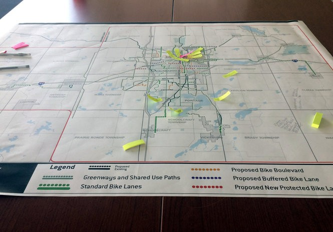 A map shows areas of current and future greenway bicycle paths in Kalamazoo County. (Malachi Barrett | MLive.com)