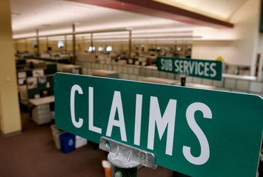 At the State Farm Claims Center in Portage, road signs like these were once used to point out different departments.That changed as there was more consolidation of locations in the Illinois-based insurance company.