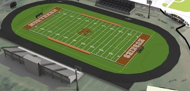 A drawing of the new Portage Northern stadium to be called Huskie Stadium.