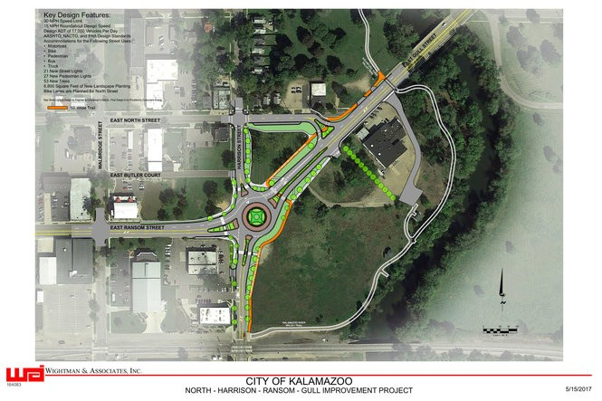A Wightman & Associates design plan shows designs for a roundabout at Harrison, Ransom and Gull streets. The orange line indicates an off-road bike path for cyclists to access the Kalamazoo River Valley Trail. Green circles indicate the location of trees. (Courtesy | City of Kalamazoo)