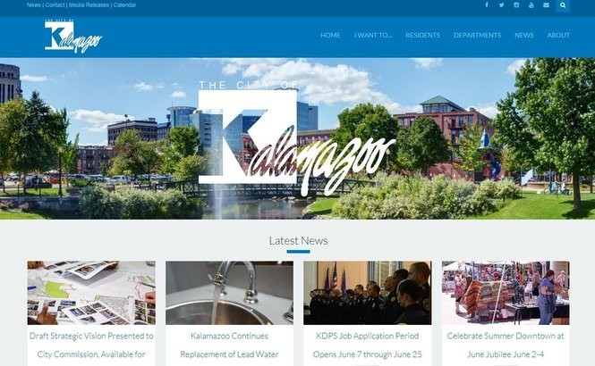 A screenshot of the home page of a soon-to-be rolled out city of Kalamazoo website. (City of Kalamazoo)