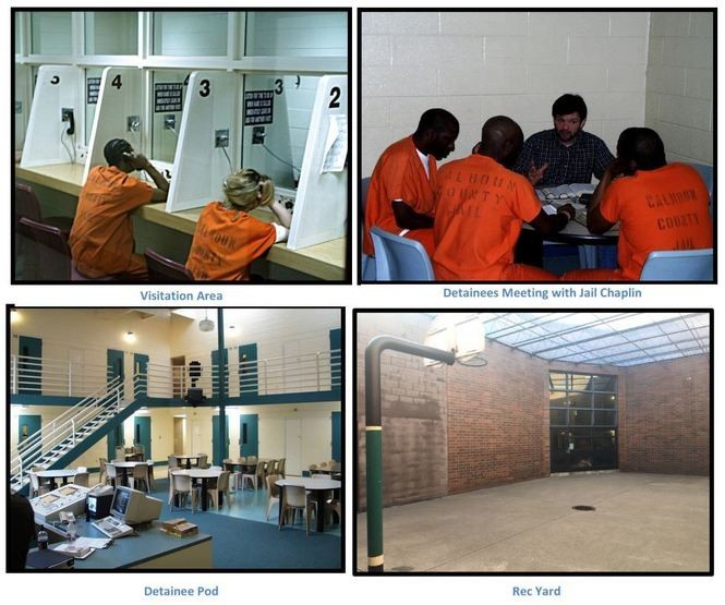 Photos contained in a document Calhoun County submitted to ICE in response to the agency's request for information in 2017, showing the existing jail facility. The document describes a separate facility that would hold hundreds of ICE detainees.