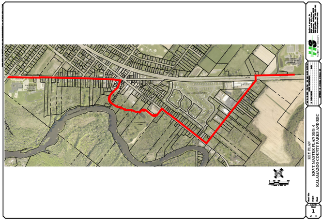 The map shows the expected location for a new segment of the Kalamazoo River Valley Trail from 35th Street in Galesburg to Galesburg-Augusta High School. Construction is expected to begin in 2019.