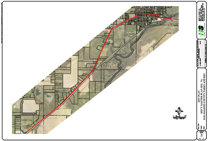 The map shows the expected location of a new segment of the Kalamazoo River Valley Trail from the Galesburg-Augusta High School to Fort Custer. Construction is expected to begin in 2020.