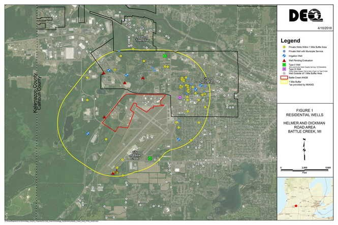 This map shows where private drinking water wells were tested for PFAS contamination around the Battle Creek Air National Guard Base. (Photo provided to MLive by MDEQ)